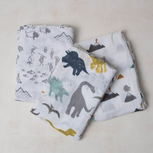 Dino Friends Musselina Swaddle Little Unicorn 3 pack