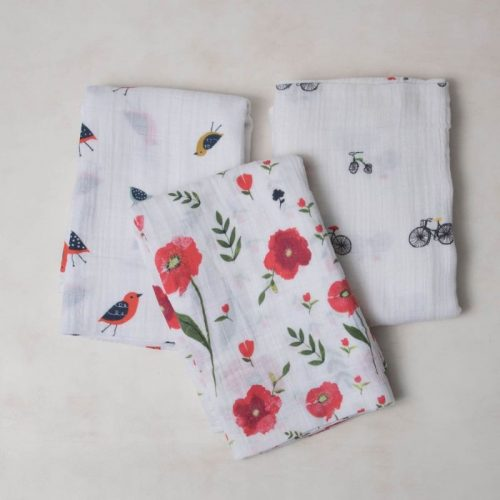 Summer Poppy Musselina Swaddle Little Unicorn 3 pack