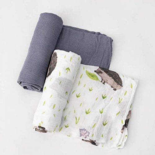 Charcoal Hedgehog Musselina Swaddle Little Unicorn 2 pack