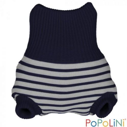 Popolini Capa de Lã Woolpant Knitted Striped-Navy